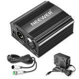 NEEWER 1-CHANNEL 48V PHANTOM FUENTE DE ALIMENTACIÓN CON ADAPTADOR, BONUS + XLR 3 Pin Cable de micrófono para cualquier micrófono de condensador Equipo de grabación de música (8 pies)
