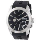 Reloj Haurex Italy 3A501UNN Magister para hombre, de acero inoxidable, dial redondo negro y visor de fecha.