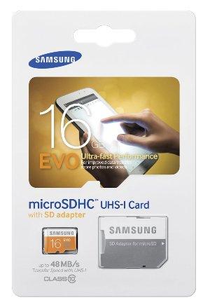 Tarjeta de Memoria Samsung EVO 16GB Micro SDHC Clase 10 con velocidad de hasta 48MB/s incluye adaptador SD (MB-MP16DA/AM)