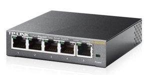 Switch de 5 puertos TP-LINK TL-SG105E  Gigabit Easy Smart Switch  con 10/100/1000 Mbps RJ45 Ports, MTU/Port/Tag-Based VLAN, QoS y IGMP