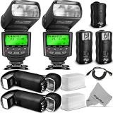 KIT DE FLASH ALTURA PHOTO STUDIO PRO PARA PAQUETE DSLR CANON - con 2 unidades de flash E-TTL AP-C1001, conjunto de disparador de flash inalámbrico doble y accesorios