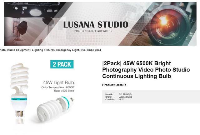   2PACK   LUSANA STUDIO 45W 6500K FOTOGRAFÍA BRILLANTE - Video Photo Studio Lámpara de iluminación contÍnua