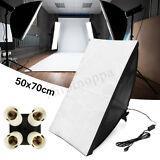 ESTUDIO FOTOGRÁFICO DE ILUMINACIÓN SOFTBOX - Kit de fotografía de 50*70 + 4 in1 E27 lámpara de enchufe