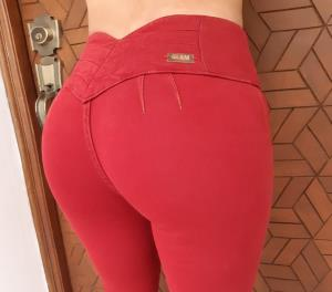 JEANS GLAM PARA MUJER SKINNY (PUSH UP CUT) (Color CHERRY, Talla 10)