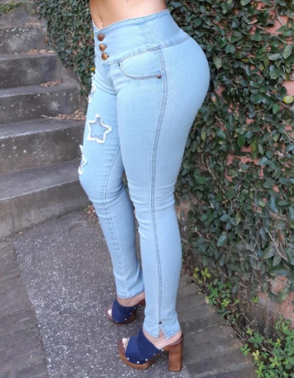 JEANS GLAM PARA MUJER SKINNY (PUSH UP CUT) (Color BABY BLUE, Talla 6)