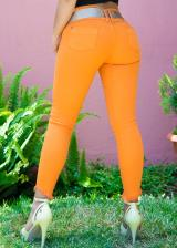 JEANS GLAM PARA MUJER SKINNY (PUSH UP CUT) (Color RUSSETORANGE, Talla 8)