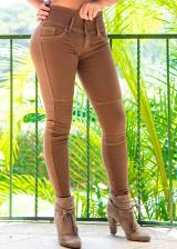 JEANS GLAM PARA MUJER SKINNY (PUSH UP CUT) (Color CHOCO CHIC, Talla 4)